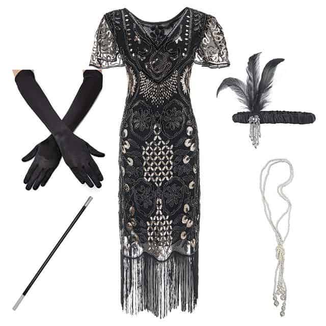 roaring 20s plus size dress with accessories