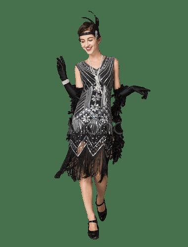 black formal evening flapper dress