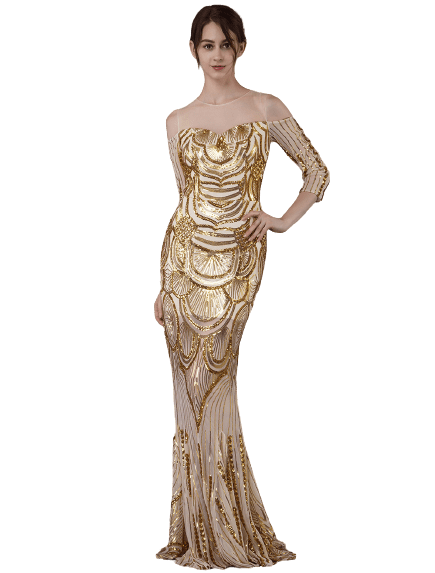 Lady wearing 1920s long gold sequin dress mermaid style in size small