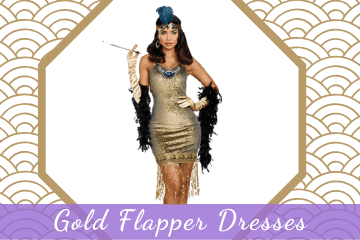 Stunning Gold Flapper Dresses & Costumes 1920s Great Gatsby Style