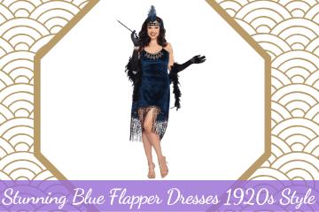 Blue Flapper Dresses 1920s Style